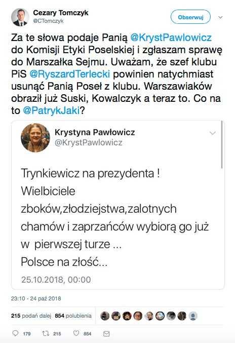 """Pawłowicz: """"Trynkiewicz na prezydenta"""" Czy ona dobrze się czuje"""