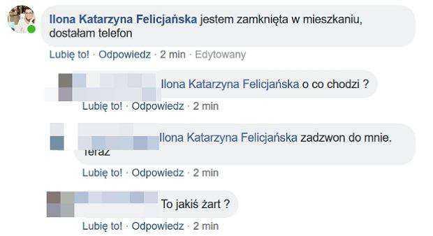 Ilona Felicjańska została pobita i uwięziona we własnym domu. uratował ją syn. wszystko opisała na swoim profilu