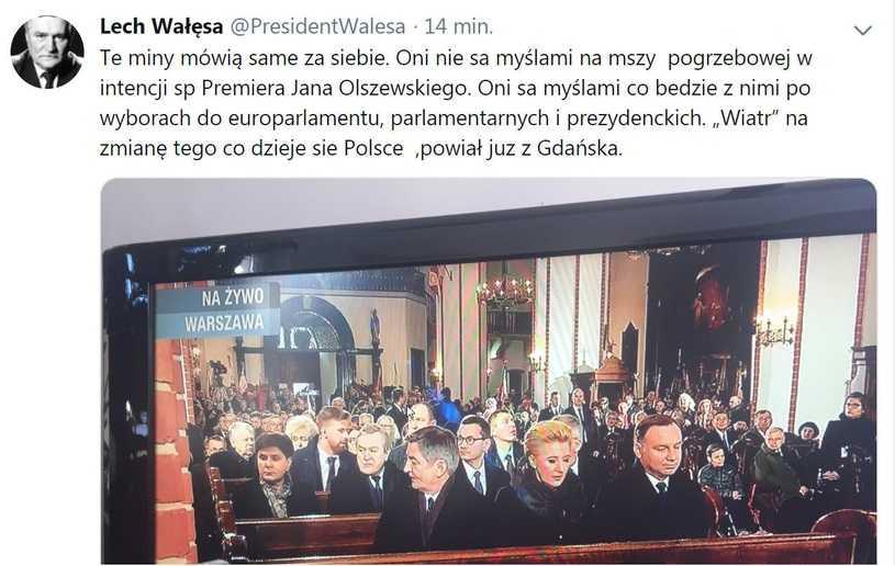 Lech Wałęsa skomentował uroczystości pogrzebowe Jana Olszewskiego. A potem wpis zniknął