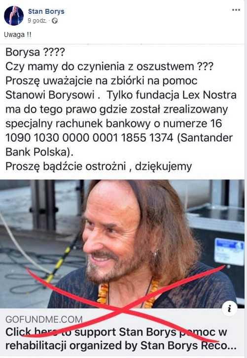 Internetowi oszuści żerują na chorym Stanie Borysie. Pojawiają się fałszywe zbiórki