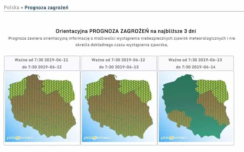 """Synoptycy ostrzegają przed niebezpiecznymi zjawiskami w Polsce. """"Grad jak monety!"""""""