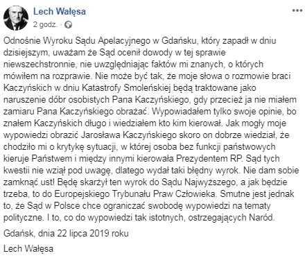 Wałęsa musi publicznie przeprosić Kaczyńskiego. Prezes PiS triumfuje