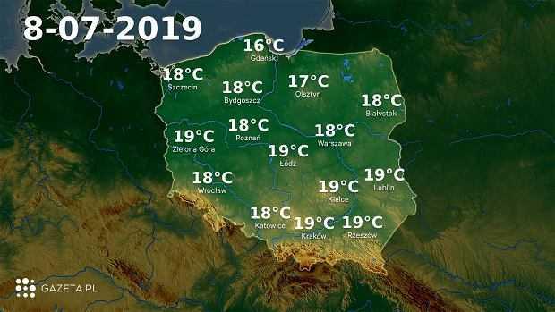 Pogoda na dziś - poniedziałek 8 lipca. Dziś w całym kraju tylko 16-19 stopni