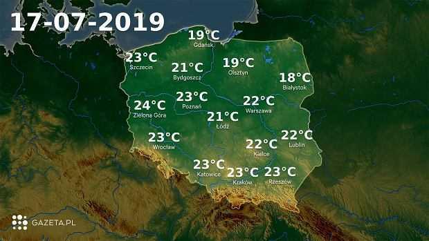 Pogoda na dziś - środa 17 lipca. Deszczowy dzień na wschodzie kraju