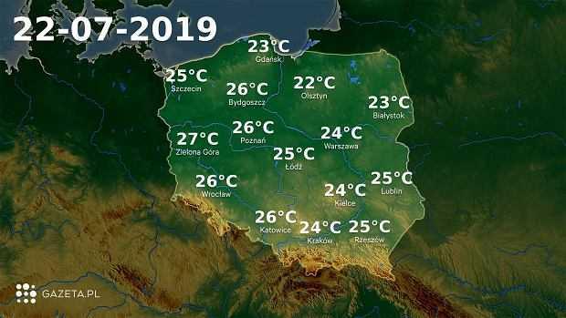 Pogoda na dziś - poniedziałek 22 lipca. Meteorolodzy zapowiadają przelotny deszcz w całym kraju