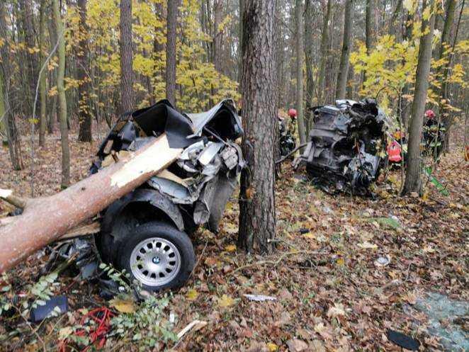 Groźny wypadek w okolicach Bydgoszczy. Auto dosłownie rozpadło się na dwie części