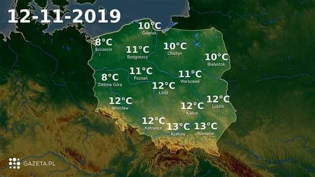 Pogoda na dziś - wtorek 12 listopada. Deszcz pojawi się na zachodzie kraju