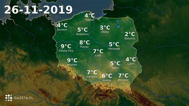 Pogoda na dziś - wtorek 26 listopada. Duże zachmurzenie w całej Polsce
