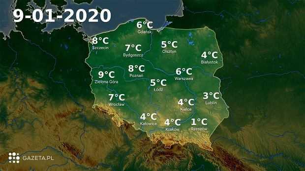 Pogoda na dziś - czwartek 9 stycznia. W większości kraju ciepło i deszczowo