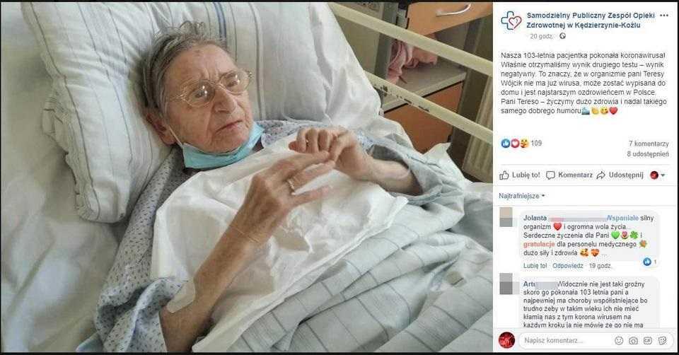 Ma 103 lata i pokonała koronawirusa. Przez to cierpiała w szpitalu