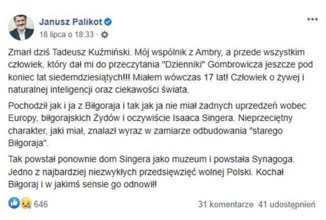 Janusz Palikot nagle przekazał wiadomość o tragedii. Śmierć zabrała bliską osobę, zwyciężyła choroba