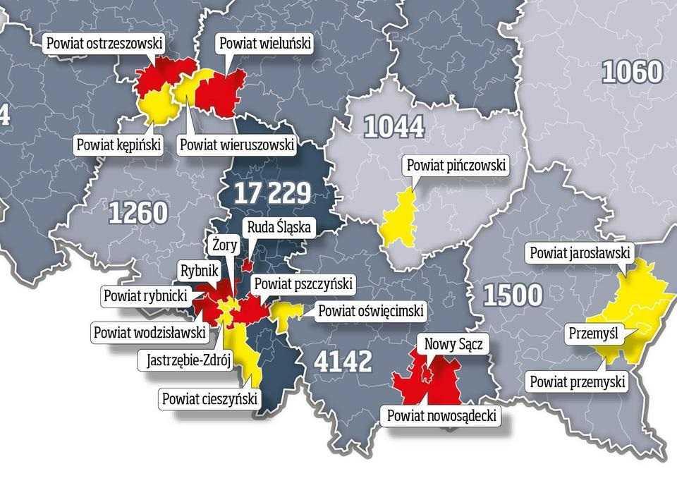 Rząd wprowadził czerwone i żółte strefy. Obostrzenia dla powiatów, gdzie jest najwięcej zakażeń SARS-CoV-2