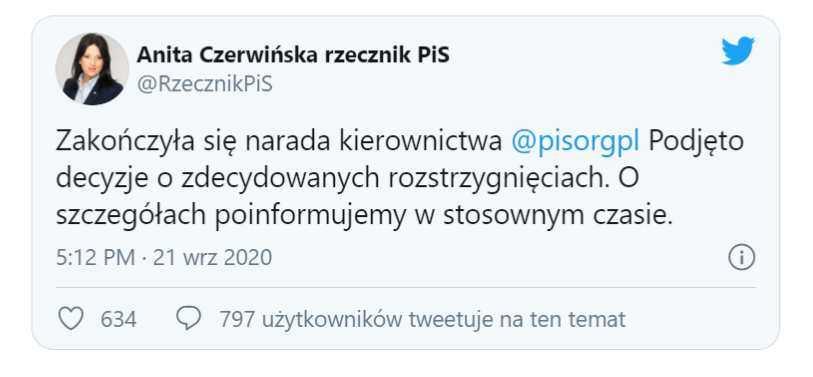 Beata Mazurek: czas na zdecydowane rozstrzygnięcia wobec wszystkich, którzy grać zespołowo nie potrafią