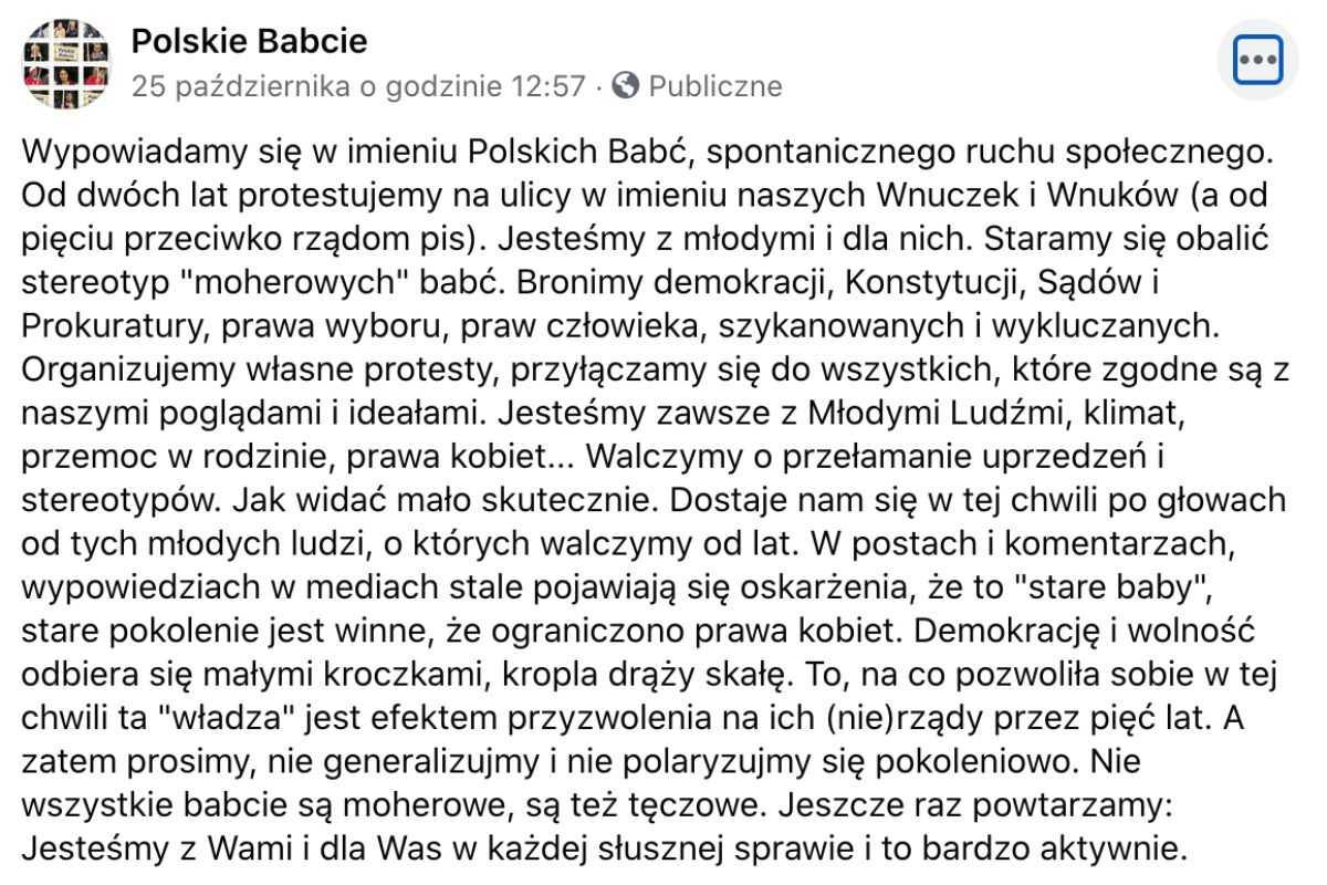 """Polskie Babcie też strajkują. """"Jesteśmy z Wami w słusznej sprawie"""""""