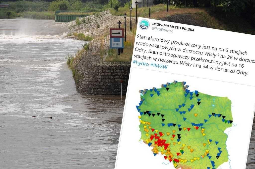 IMGW: trzeci topień zagrożenia hydrologicznego. Czoło fali wezbraniowej zmierza do Wrocławia