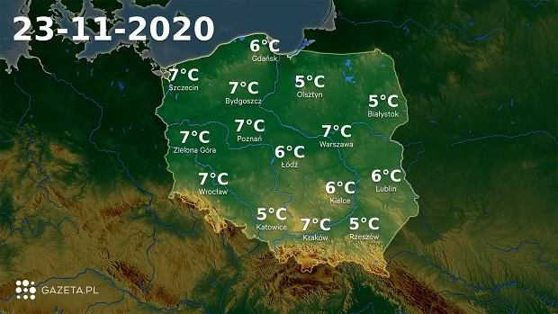 Pogoda na dziś - poniedziałek 23 listopada. Sporo deszczu w północnej i południowej Polsce