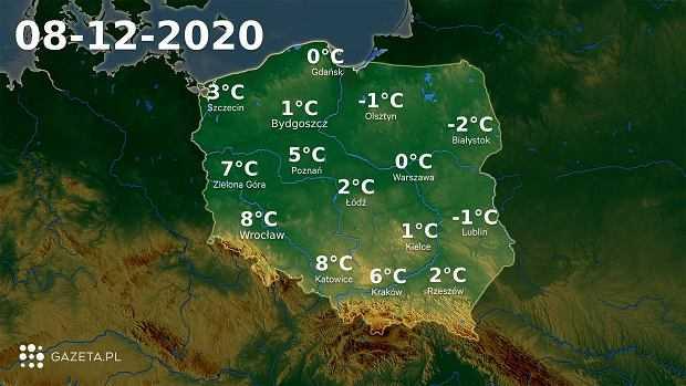 Pogoda na dziś - wtorek 8 grudnia. Synoptycy ostrzegają przed marznącymi opadami deszczu