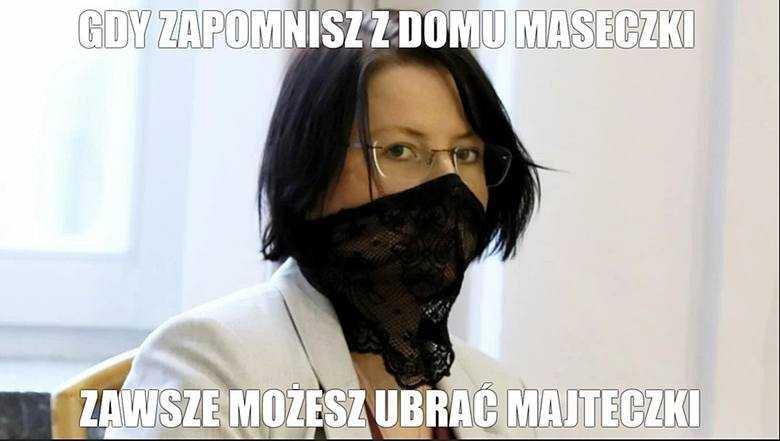 """Kaja Godek i jej maseczka pro-life podbiła internet MEMY. """"Zapomniałaś maseczki? Masz majteczki"""" drwią internauci"""