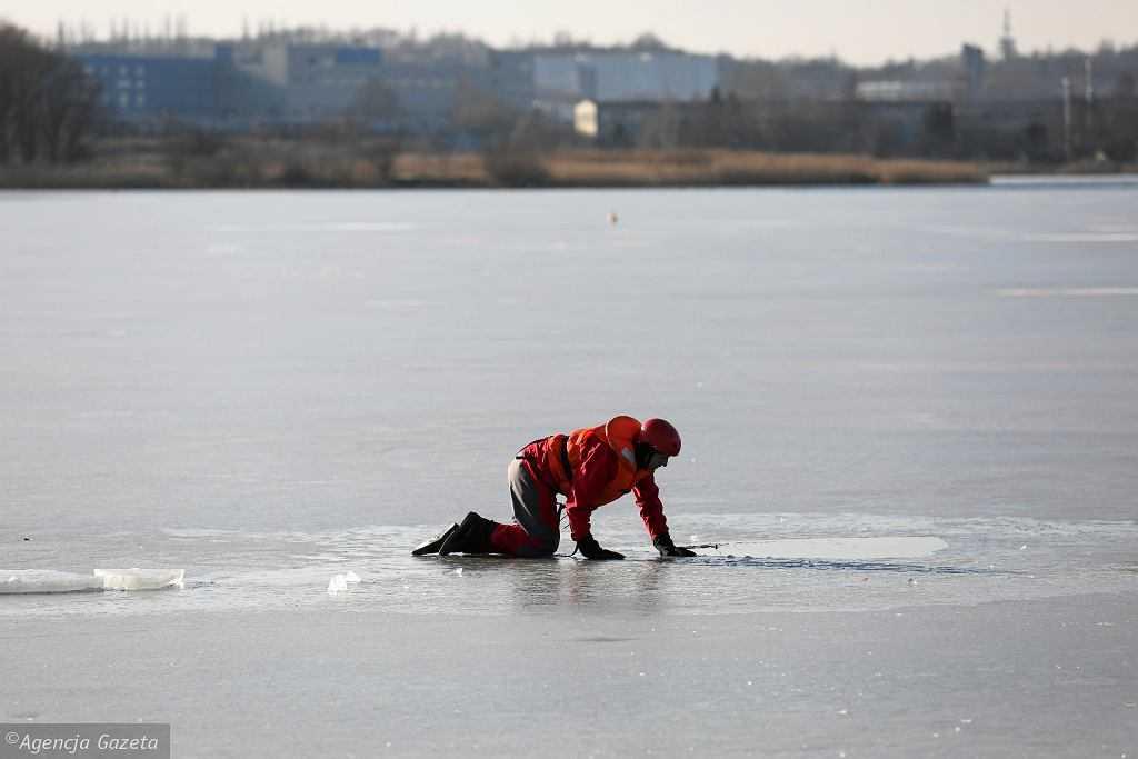 Poznań. Pies czuwał nad pękniętą taflą lodu na zamarzniętym stawie. Z wody wyłowiono ciało 21-latka