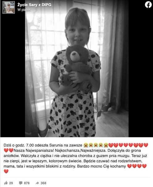 Nie żyje 8-letnia Sara. Od ponad 2 lat walczyła z glejakiem mózgu