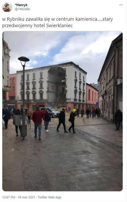 Zawaliła się ściana kamienicy w Rybniku. Służby szukają rannych pod gruzami