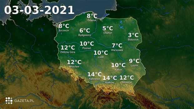 Pogoda na dziś - środa, 3 marca. W całej Polsce ciepło. Na termometrach do 14 stopni