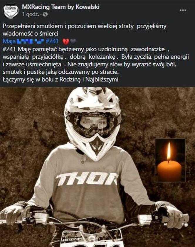 15-letnia Maja z Gdyni zginęła na torze motocrossowym w Lipnie. Klub żegna zawodniczkę
