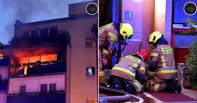 Makabryczny pożar w Pruszkowie. Mieszkanie w bloku płonęło jak zapałka. Nie żyje 17-latek