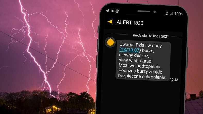 Alert RCB. W ciągu dnia i w nocy grożą burze, wiatr i grad