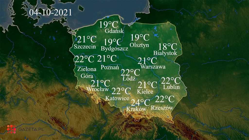 Pogoda na dziś - poniedziałek 4 października. Znaczący wzrost temperatury, miejscami do 25 stopni
